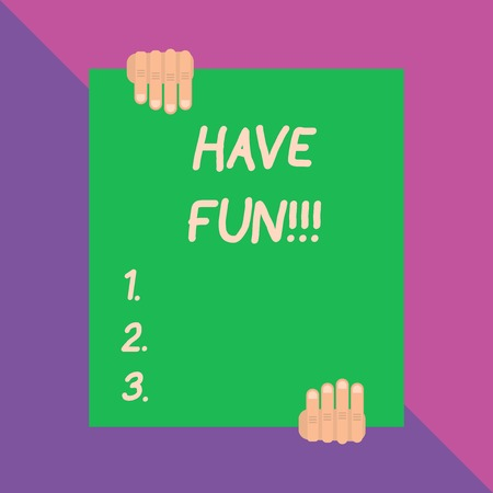 Conceptual hand writing showing Have Fun. Concept meaning wish somebody good and enjoyable time when they do something Фото со стока