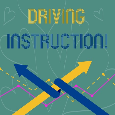Conceptual hand writing showing Driving Instruction. Concept meaning detailed information on how driving should be done Two Arrows One Intertwined to Other Team Up or Competition Stock Photo