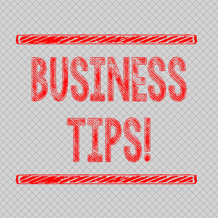 Writing note showing Business Tips. Business concept for tricks or ideas on how to start or run a small business Diagonal Gray Grid Mesh Cell in Parallel Line Intertwined Pattern
