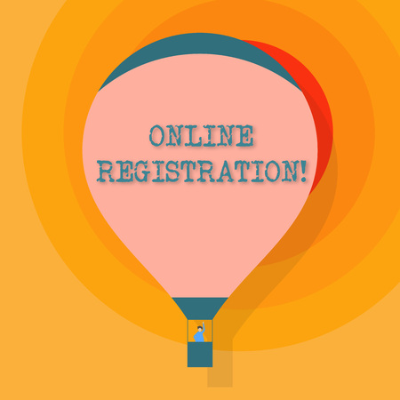 Conceptual hand writing showing Online Registration. Concept meaning registering via the Internet as a user of a product Hot Air Balloon Floating with Passenger Waving From Gondola 免版税图像