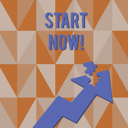 Text sign showing Start Now. Business photo showcasing do not hesitate get working or doing stuff right away Colorful Arrow Pointing Upward with Detached Part Like Jigsaw Puzzle Piece