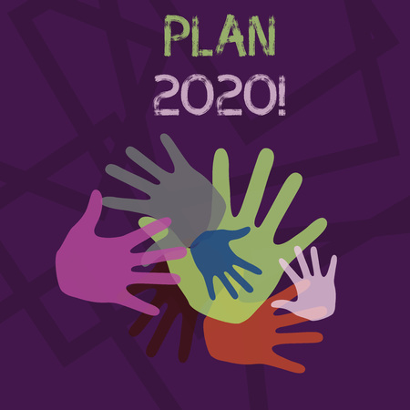 Word writing text Plan 2020. Business photo showcasing detailed proposal doing achieving something next year Color Hand Marks of Different Sizes Overlapping for Teamwork and Creativity Imagens