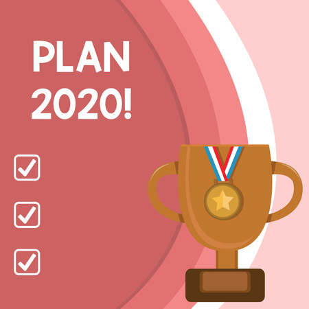 Handwriting text Plan 2020. Conceptual photo detailed proposal doing achieving something next year Stock Photo