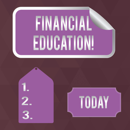 Writing note showing Financial Education. Business concept for education and understanding of various financial areas Color Label Self Adhesive Sticker with Border Corner and Tag
