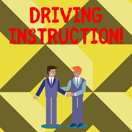 Conceptual hand writing showing Driving Instruction. Concept meaning detailed information on how driving should be done Businessmen Smiling and Greeting each other by Handshaking