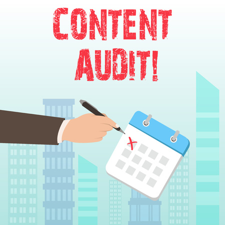 Word writing text Content Audit. Business photo showcasing process of evaluating content elements and information 스톡 콘텐츠