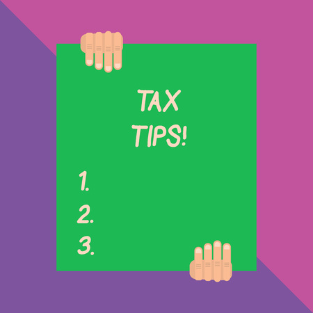 Conceptual hand writing showing Tax Tips. Concept meaning compulsory contribution to state revenue levied by government Фото со стока