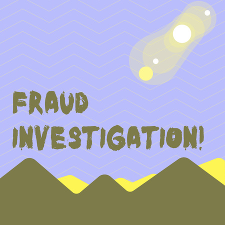 Word writing text Fraud Investigation. Business photo showcasing process of determining whether a scam has taken place View of Colorful Mountains and Hills with Lunar and Solar Eclipse Happening Reklamní fotografie