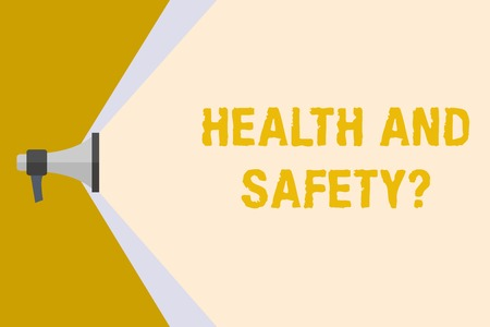 Writing note showing Health And Safety Question. Business concept for regulations and procedures to prevent accident or injury Megaphone Extending Capacity of Volume Range thru Wide Beam