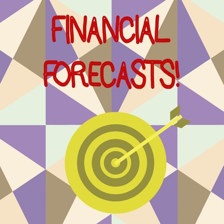 Writing note showing Financial Forecasts. Business concept for estimate of future financial outcomes for a company Dart Board in Concentric Style with Arrow Hitting the Center Bulls Eye Фото со стока