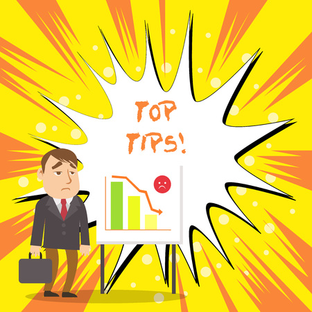 Text sign showing Top Tips. Business photo showcasing small but particularly useful piece of practical advice