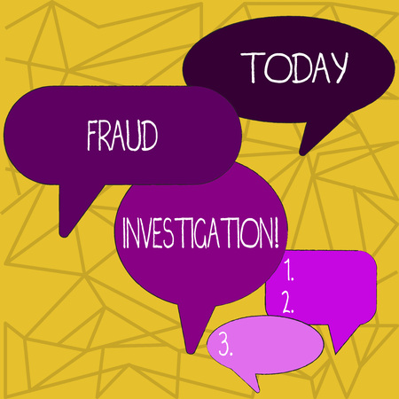 Writing note showing Fraud Investigation. Business concept for process of determining whether a scam has taken place Speech Bubble in Different Sizes and Shade Group Discussion