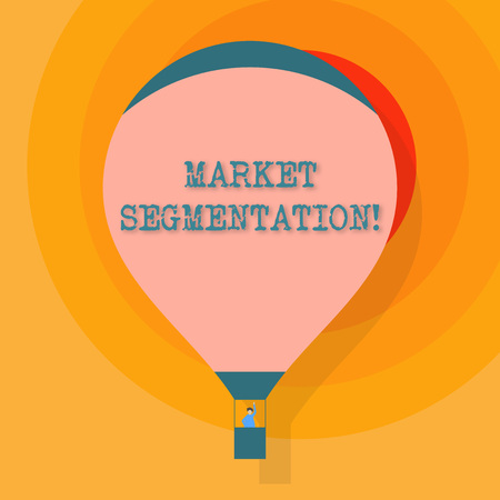 Conceptual hand writing showing Market Segmentation. Concept meaning dividing a market of potential customers into groups Hot Air Balloon Floating with Passenger Waving From Gondola