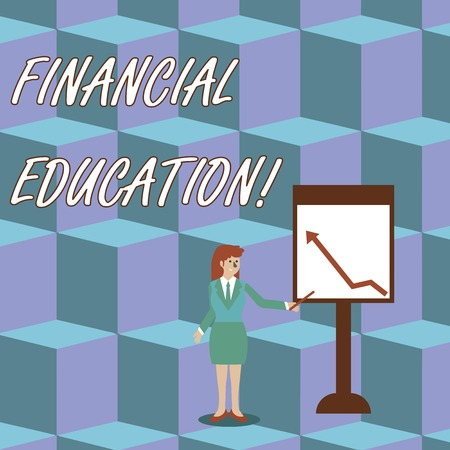 Handwriting text Financial Education. Conceptual photo education and understanding of various financial areas Businesswoman Holding Stick Pointing to Chart of Arrow Upward on Whiteboard
