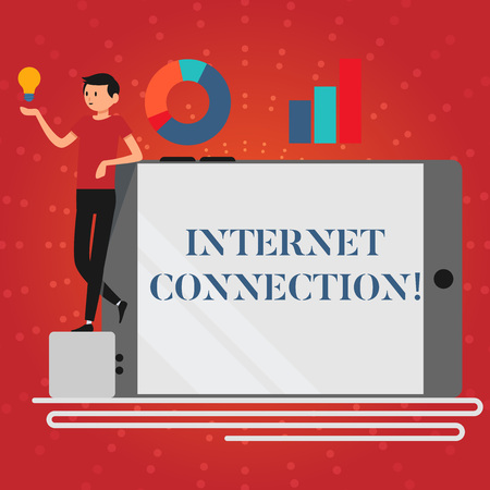 Writing note showing Internet Connection. Business concept for The way one gains access or connection to the Internet Man Leaning on Smartphone Turned on Side Graph and Idea Icon