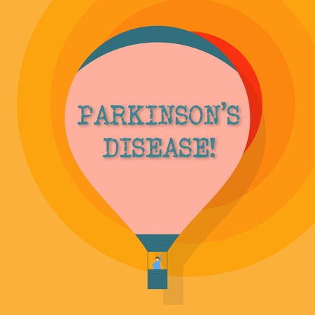 Conceptual hand writing showing Parkinson S Is Disease. Concept meaning nervous system disorder that affects movement Hot Air Balloon Floating with Passenger Waving From Gondola