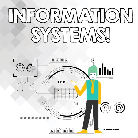 Word writing text Information Systems. Business photo showcasing study of systems with a exact reference to information Man Standing Holding Pen Pointing to Chart Diagram with SEO Process Icons