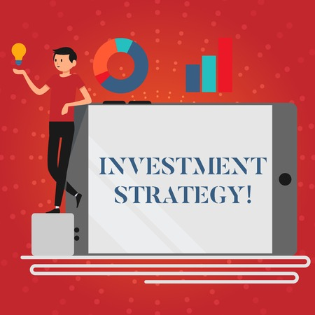 Writing note showing Investment Strategy. Business concept for the systematic plan to allocate investable assets Man Leaning on Smartphone Turned on Side Graph and Idea Icon Stock Photo