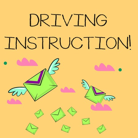 Word writing text Driving Instruction. Business photo showcasing detailed information on how driving should be done Many Colorful Airmail Flying Letter Envelopes and Two of Them with Wings