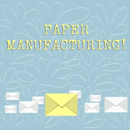 Writing note showing Paper Manufacturing. Business concept for company that use wood as raw material and produce paper Color Envelopes in Different Sizes with Big one in Middle 写真素材