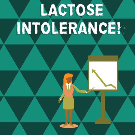 Writing note showing Lactose Intolerance. Business concept for digestive problem where body is unable to digest lactose Woman Holding Stick Pointing to Chart of Arrow on Whiteboard Фото со стока