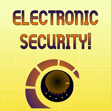 Handwriting text Electronic Security. Conceptual photo electronic equipment that perform security operations Volume Control Metal Knob with Marker Line and Colorful Loudness Indicator