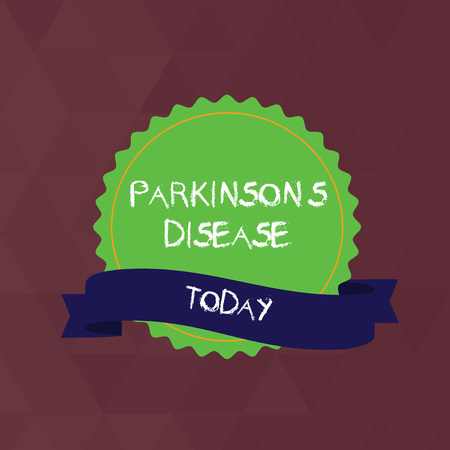 Writing note showing Parkinson S Is Disease. Business concept for nervous system disorder that affects movement Color Seal Sticker with Jagged Edge and Shaded Ribbon Strip
