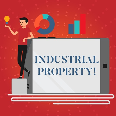 Writing note showing Industrial Property. Business concept for the intangible ownership of a trademark or patent Man Leaning on Smartphone Turned on Side Graph and Idea Icon Stock Photo