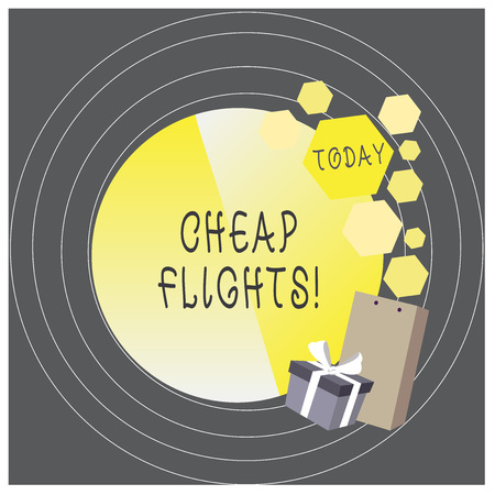 Writing note showing Cheap Flights. Business concept for costing little money or less than is usual or expected airfare