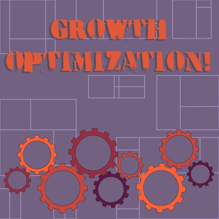 Text sign showing Growth Optimization. Business photo showcasing Finding an alternative with the most cost effective Colorful Cog Wheel Gear Engaging, Interlocking and Tesselating Flat Style