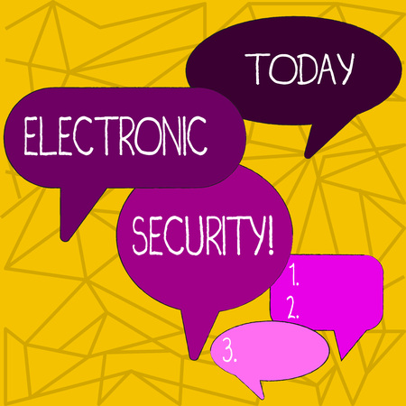 Writing note showing Electronic Security. Business concept for electronic equipment that perform security operations Speech Bubble in Different Sizes and Shade Group Discussion Фото со стока