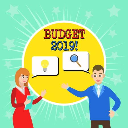 Writing note showing Budget 2019. Business concept for estimate of income and expenditure for current year