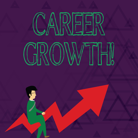 Writing note showing Career Growth. Business concept for the process of making progress to better jobs or career Businessman with Eyeglasses Riding Crooked Arrow Pointing Up Imagens