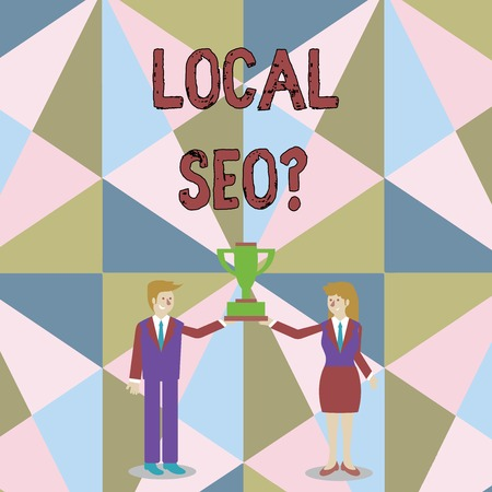 Word writing text Local Seo question. Business photo showcasing incredibly effective way to market your local business online Man and Woman in Business Suit Holding Together the Championship Trophy Cup 版權商用圖片