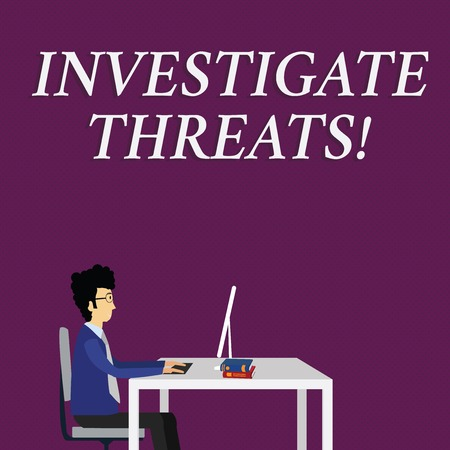 Writing note showing Investigate Threats. Business concept for carry out a systematic inquiry on potential danger Businessman Sitting on Chair Working on Computer and Books