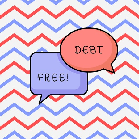 Writing note showing Debt Free. Business concept for does not owning any money or things to any individual or companies
