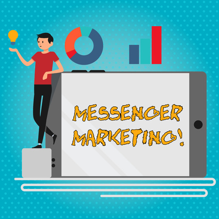 Text sign showing Messenger Marketing. Business photo showcasing act of marketing to your customers using a messaging app Man Leaning on Blank Smartphone Turned on Its Side with Graph and Idea Icon