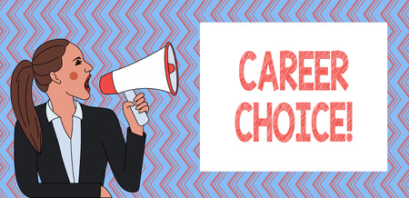 Writing note showing Career Choice. Business concept for selection of a particular path or vocation in terms of career