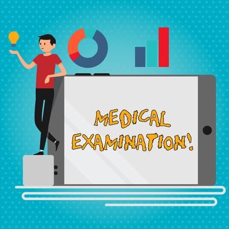Text sign showing Medical Examination. Business photo showcasing Checkup carried out to determine the physical fitness Man Leaning on Blank Smartphone Turned on Its Side with Graph and Idea Icon