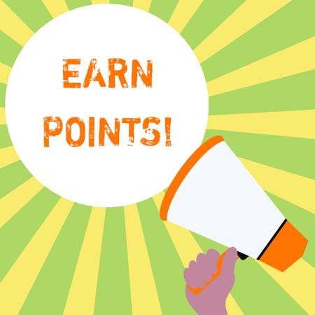 Signo de texto que muestra ganar puntos. Foto y texto de negocios recolectando puntajes para calificar para ganar un gran premio