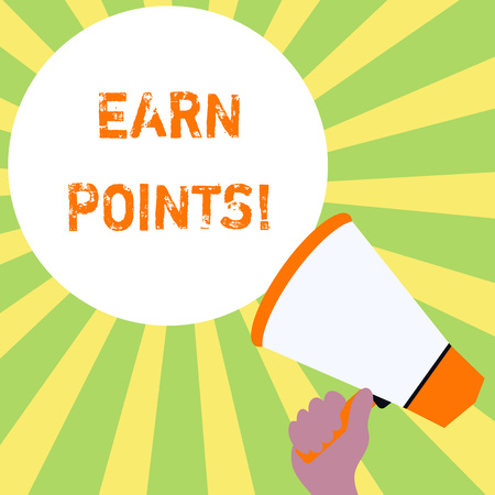 Text sign showing Earn Points. Business photo text collecting scores in order qualify to win big prize