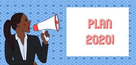 Texto de escritura Plan 2020.Foto conceptual propuesta detallada haciendo lograr algo el próximo año
