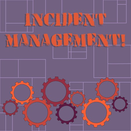 Text sign showing Incident Management. Business photo showcasing Activities of a company to identify and correct hazards Colorful Cog Wheel Gear Engaging, Interlocking and Tesselating Flat Style