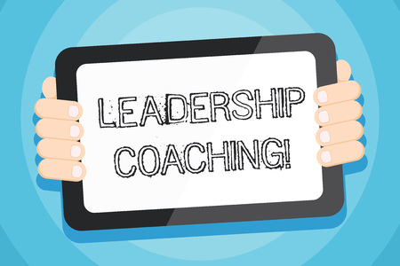 Text sign showing Leadership Coaching. Business photo showcasing individualized process that builds a leader s is capability Color Tablet Smartphone with Blank Screen Handheld from the Back of Gadget