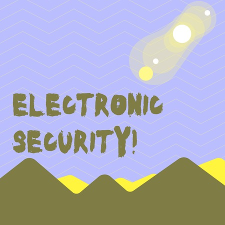 Word writing text Electronic Security. Business photo showcasing electronic equipment that perform security operations View of Colorful Mountains and Hills with Lunar and Solar Eclipse Happening