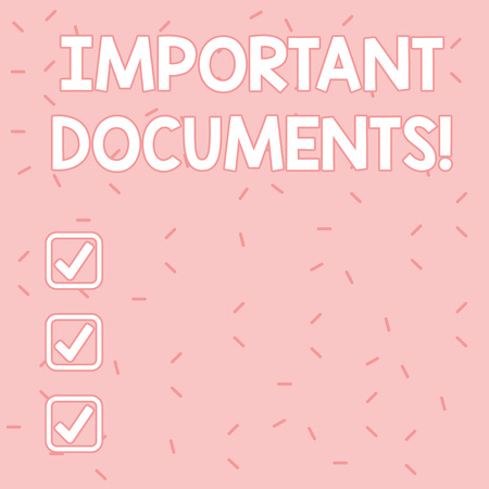 Text sign showing Important Documents. Business photo text more official pieces of paper with writing on them Pink Tiny Sprinkles Confetti Scattered in Random on Lighter Shade Backdrop Stockfoto