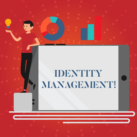 Writing note showing Identity Management. Business concept for administration of individual identities within a system Man Leaning on Smartphone Turned on Side Graph and Idea Icon