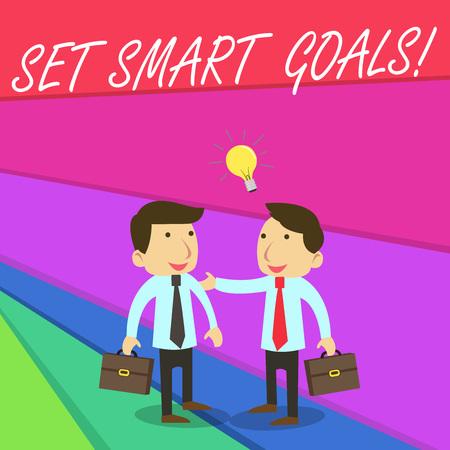 Handwriting text writing Set Smart Goals. Conceptual photo list to clarify your ideas focus efforts use time wisely Stock Photo