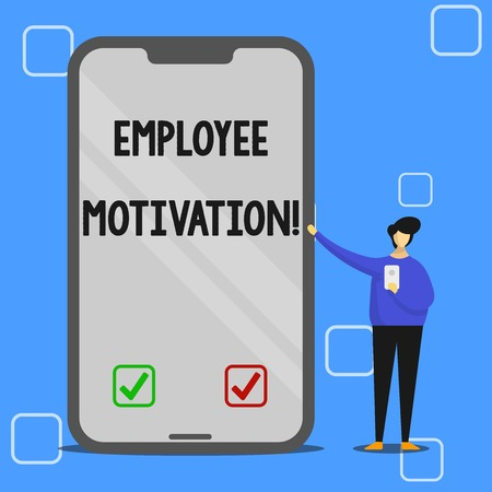 Handwriting text writing Employee Motivation. Conceptual photo Energy that a company s is workers bring to their jobs Man Presenting Huge Blank Screen Smartphone while Holding Another Mobile Stok Fotoğraf