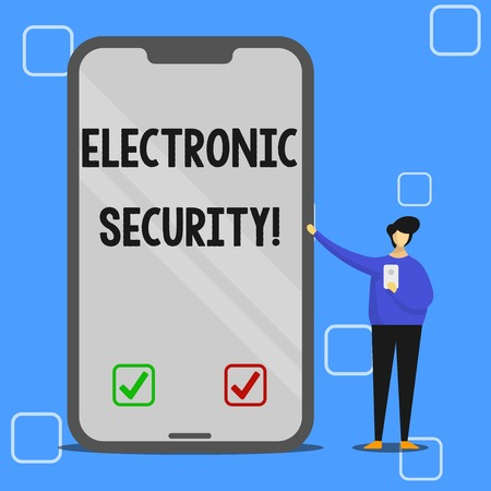 Handwriting text writing Electronic Security. Conceptual photo electronic equipment that perform security operations Man Presenting Huge Blank Screen Smartphone while Holding Another Mobile 版權商用圖片